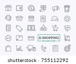 e commerce vector thin icons.... | Shutterstock .eps vector #755112292