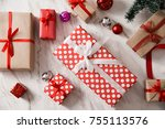 top view of present boxes on...   Shutterstock . vector #755113576