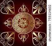 vector mandala. ancient greek... | Shutterstock .eps vector #755114602