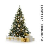 Stock photo decorated christmas tree with golden patchwork ornament artificial gold balls and big gift presents 755115055