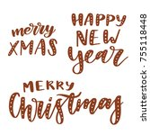 merry christmas and happy new... | Shutterstock .eps vector #755118448