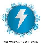 lightning christmas icon   Shutterstock .eps vector #755120536