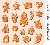 christmas cake cookie vector...   Shutterstock .eps vector #755121196