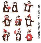 christmas cute penguin vector... | Shutterstock .eps vector #755121205