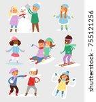 winter christmas kids vector... | Shutterstock .eps vector #755121256