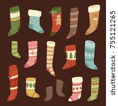 christmas socks vector santa... | Shutterstock .eps vector #755121265