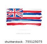flag of hawaii. vector... | Shutterstock .eps vector #755125075