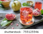 selective focus at glass of... | Shutterstock . vector #755125546