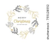 christmas wreath with black and ... | Shutterstock .eps vector #755128552