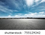 empty asphalt road and snow...   Shutterstock . vector #755129242