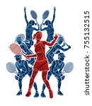 tennis players   women action... | Shutterstock .eps vector #755132515