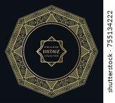 golden frame template with... | Shutterstock .eps vector #755134222