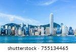 view of victoria harbour in... | Shutterstock . vector #755134465