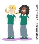 two schoolgirls singing | Shutterstock .eps vector #755134636