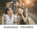 happiness emotion of asian two... | Shutterstock . vector #755134852