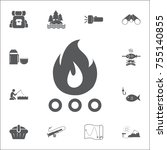 bonfire icon. set of camping...