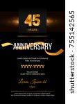45 years golden anniversary... | Shutterstock .eps vector #755142565