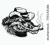 crocodile head smoking with hat ... | Shutterstock .eps vector #755143186