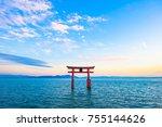 torii and lake biwa  shiga... | Shutterstock . vector #755144626