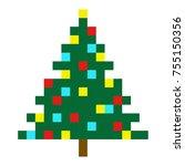 christmas tree pixel art...   Shutterstock .eps vector #755150356