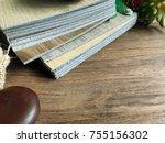 closeup on vinyl wood pattern... | Shutterstock . vector #755156302