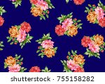 watercolor flower pattern navy...   Shutterstock . vector #755158282