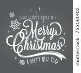 merry christmas lettering card | Shutterstock .eps vector #755161402