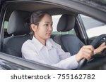 closeup portrait tired asian... | Shutterstock . vector #755162782