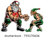 santa and one of his elves... | Shutterstock .eps vector #755170636