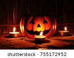 halloween pumpkin decoration... | Shutterstock . vector #755172952