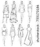 sketch. set of fashion model on ... | Shutterstock . vector #755173186