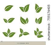 green leaves set vector logo... | Shutterstock .eps vector #755176405