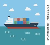 cargo shipping with containers. ...   Shutterstock .eps vector #755181715