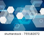blue and white tech abstract... | Shutterstock .eps vector #755182072