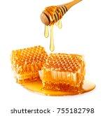 sweet honeycomb and wooden...   Shutterstock . vector #755182798