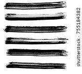 brush stroke set. background. | Shutterstock .eps vector #755184382