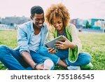 cheerful afro american best...   Shutterstock . vector #755186545