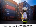 woman foreman control loading... | Shutterstock . vector #755186725