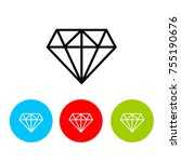 diamond icon  eps 10 | Shutterstock .eps vector #755190676
