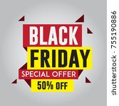 black friday sale sticker or... | Shutterstock .eps vector #755190886