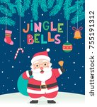 cute santa clause with... | Shutterstock .eps vector #755191312