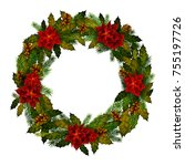 decorative wreath for happy new ... | Shutterstock .eps vector #755197726