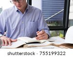 architect working on... | Shutterstock . vector #755199322