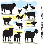 set vector farm animals...