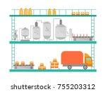 cartoon beer brewing process... | Shutterstock .eps vector #755203312