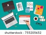 paper spiral wall calendar and... | Shutterstock . vector #755205652