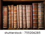 old books on wooden shelf. | Shutterstock . vector #755206285