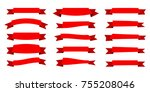 red ribbon. flat vector ribbons ... | Shutterstock .eps vector #755208046