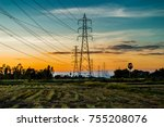 high voltage ac transmission... | Shutterstock . vector #755208076