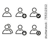 account vector icons set. black ... | Shutterstock .eps vector #755212312
